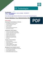 Oracle DBA Administration Workshop 1 Details