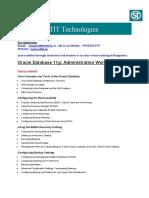 Oracle DBA Administration Workshop 11 Details