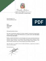 Carta de condolencias del presidente Danilo Medina a Felipe Ciprián por fallecimiento de su madre, Ana Dolores Presinal Aristy viuda Ciprián