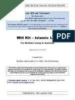 Islamic will kit auatralia