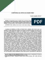 Franklim Leopoldo- Artigo Metafísica Em Kant