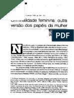 Criminalidade Feminina-outra Versão Dos Papeis Da Mulher