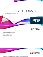 assessing the learner for health education