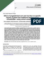 African Journal of Food Science Volume 12 Issue 10 2018 [Doi 10.5897_ajfs2017.1666] Fairouz, Djeghim; Hayat, Bourekoua; Leila, Benatallah; Mohammed, -- Effect of Pregelatinized Corn and Rice Flour o