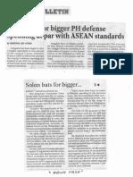 Manila Bulletin, Nov. 19, 2019, Solon bats for bigger PH defense spending at par with ASEAN standards.pdf