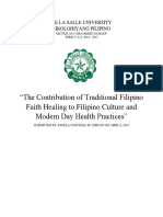 The Contribution of Traditional Filipino Faith Healing to Modern Day Health Practices