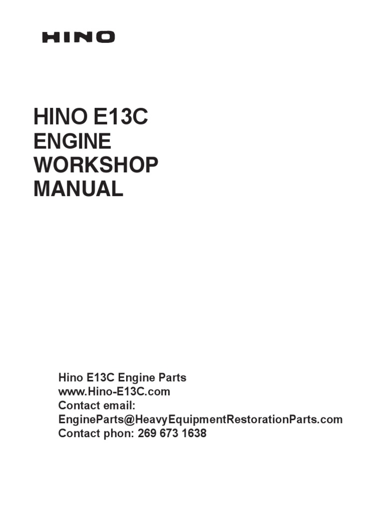 HINO J05C J08C SERIES ENGINE WORKSHOP SERVICE REPAIR MANUAL DIGITAL e-COPY