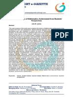 Exploring Factors of Mathematics Achievement