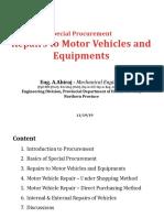 Special Procurement - Motor Vehicle Repair
