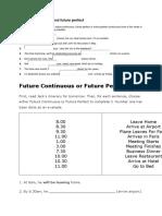 Future Continuous and Future Perfect