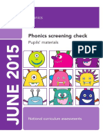 2015 phonics screening check - pupils  materials
