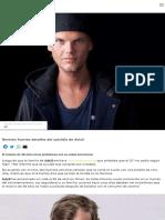 Revelan Fuertes Detalles Del Suicidio de Avicii Noticias Telehit Artículo