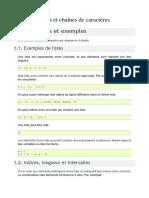 Listes Et Chaînes de Caractères1