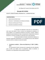 CIRCULAR N° 1 - 2019 - DEI - Orientaciones Organizativo Administrativas