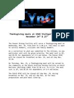Thanksgiving meals at USAG Stuttgart DFACS November 24th & 25th