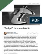 Budget de Manutenção