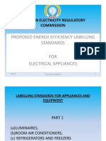 Proposed Energy Efficiency Labeling and Standards for Electrical Appliances
