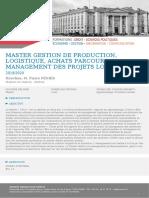 Master Gestion de Production, Logistique, Achats Parcours Management Des Projets Logistiques