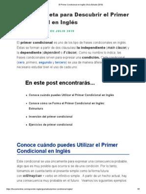 El Primer Condicional En Inglés Guía Estudio 2019 Pdf