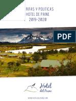 Tarifario y Politicas Hotel Del Paine 2019