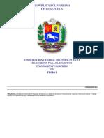 Distribución General de presupuesto de Venezuela 2018