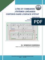 Annalyse Et Commande Des Systemes Lineai