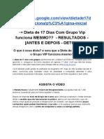 Dieta de 17 Dias Com Grupo Vip Funciona MESMO