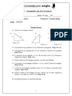 Lista de exercícios - Teorema de Pitágoras