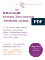 Flyer seeking applicants for Michigan Redistricting Commission