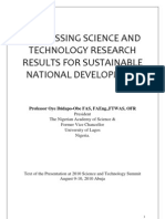 Harnessing Science and Technology Research for Sustainable National Development