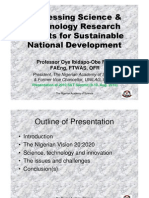 Harnessing Science and Technology Research Results for Sustainable National Development