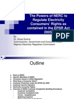 The Powers of the Nigerian Electricity Regulatory Commission (NERC) to Regulate Electricity Consumers' Rights