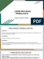 Sistema Recursal Trabalhista 15 10 2019