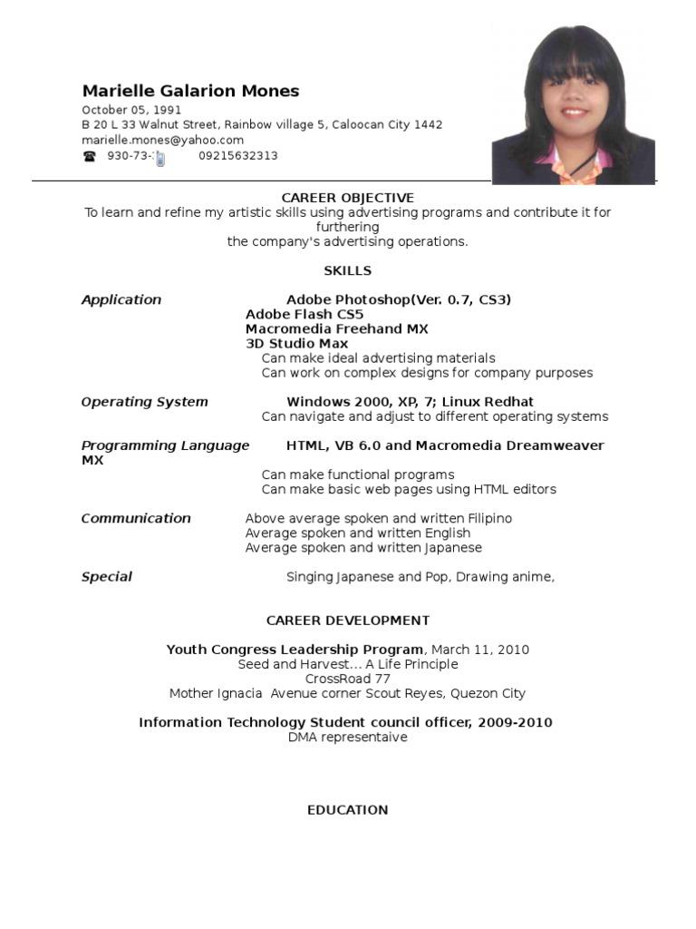 Resume Resume Sample Philippines For Ojt resume format ojt