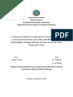 Proyecto de investiacion La Educación Ambiental una alternativa en la ecologia de saberes para la transformación del sujeto.