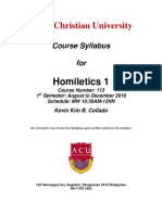 Homiletics 1 Course Syllabus