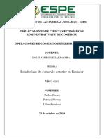 Estadísticas de Comercio Exterior Ecuador