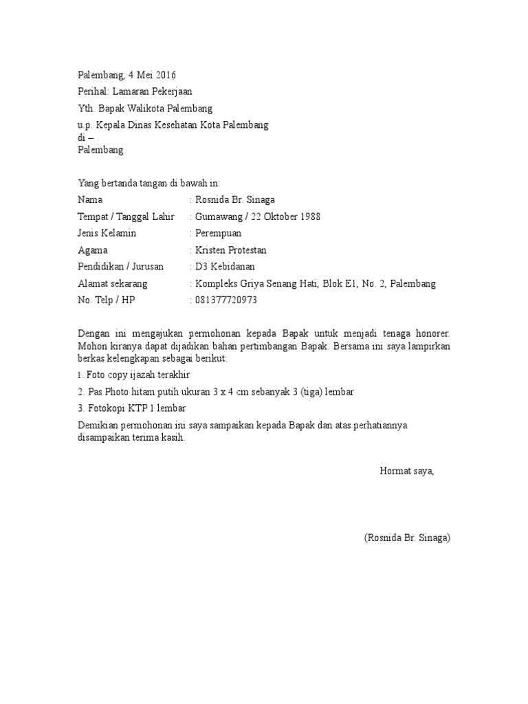 Contoh Surat Lamaran Kerja Doc