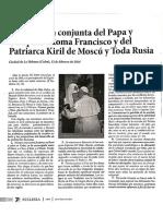Declaracion de La Habana, Entre Papa Francisco - Patriarca Kiril