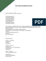 Latex Code for Presentation