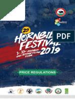 Hornbill Festival 2019 - Price Regulations