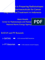 Role of BATAN in Preparing Radioisotopes and Radiopharmaceuticals for Cancer Diagnosis and Treatment in Indonesia