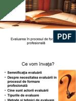 Evaluarea în procesul de formare  profesională