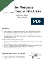 Water Resource Management in Hills