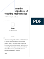 Brief Notes on the Aims and Objectives of Teaching Mathematics