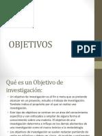 Objetivos en la investigacion