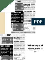 English practice type of restaurant