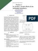 Practica de maquinas eléctricas ensayos de un transformador