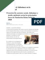Nota Sobre El Alzheimer en La Actualidad