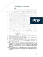 Lista de exercícios linguagem de programação